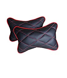 Hi Art CS_4 Black And Red Double Quilted Car Neck Rests Cushions - Set of 2 pieces