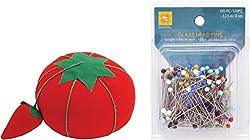 Glass Head Multicolor Pins with Original Tomato Pin Cushion