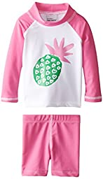 Flap Happy Baby Girls\' Rash Guard Swim Top with Print and Short Set, Pineapple Crush, 12 Months