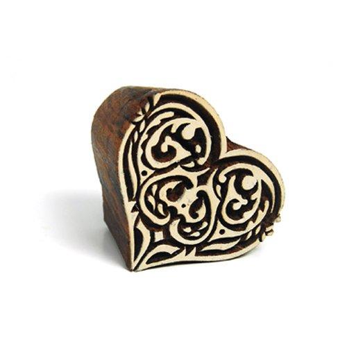 International Arrivals Blockwallah Wooden Stamp, Gothic Heart
