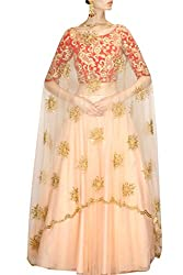 Granth Sky Red And Cream Color Straight Semi Stitched Lehenga