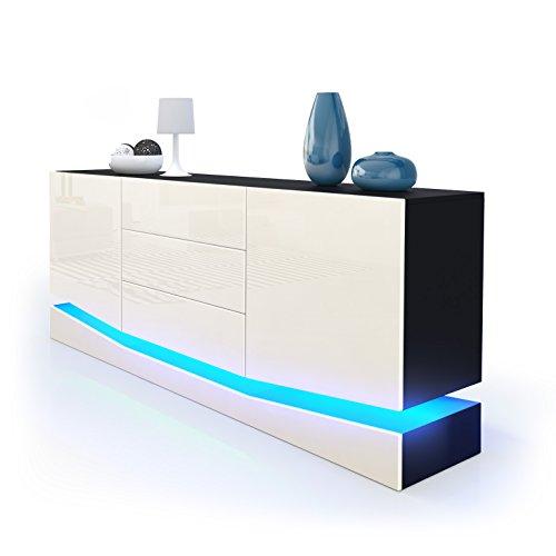 Sideboard-Kommode-City-Korpus-in-Schwarz-matt-Fronten-in-Creme-Hochglanz-inkl-LED-Beleuchtung