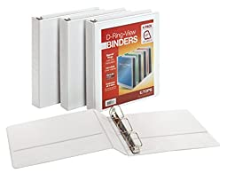 Cardinal 1.5-Inch D-Ring View Binders, 4 per Pack, White (48980)