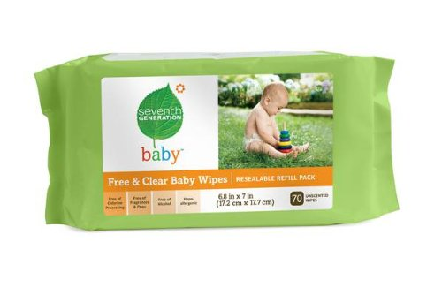 Seventh Generation Baby Wipes Refills, Chlorine Free and Unscented, 70-Count Packs (Pack of 12) (840 Wipes)