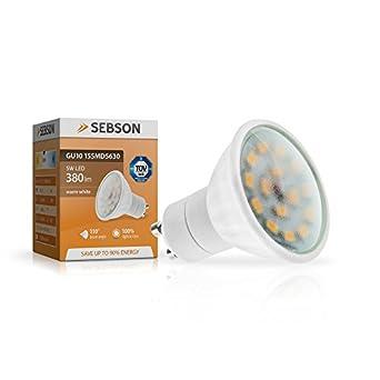 SEBSON GU10 LED 5W Lampe - vgl. 40W Halogen - 380 Lumen - GU10 LED warmweiß - LED Leuchtmittel 110° - 230V