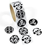 Roll of (100) Pirate Skull & Crossbones Party Favor Stickers