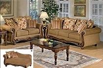 Big Sale Olysseus Collection Brown Floral Sofa Set