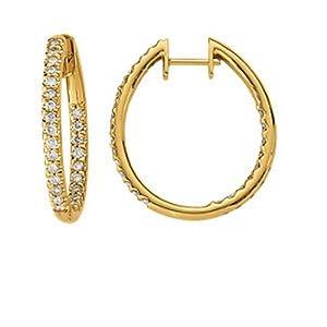 IceCarats Designer Jewelry 14K Yellow 3/4 Ctw Diamond Hinged Inside/Outside Hoop Earring 14K Yellow Gold