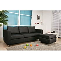 Hot Sale San Francisco Leatherette Convertible Sectional Sofa and Ottoman in Black