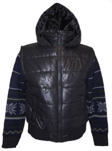 Dissident Nippon Mens Winter Jacket with Knitwear inner in Navy in Size large with detachable hood