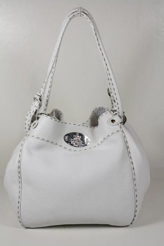 Fendi Handbags White Leather Bucket 8BR489