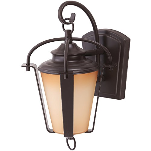Sunlite LFX/DOD/L/6/12W/30K 11.5 Inch LED Lantern Wall Mounted Outdoor Lighting Fixture, Copper Bronze Finish, Amber Alabaster Glass Lens
