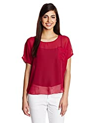 KIMYRA Women's Body Blouse Shirt (1314171167570_Burgundy_Medium)
