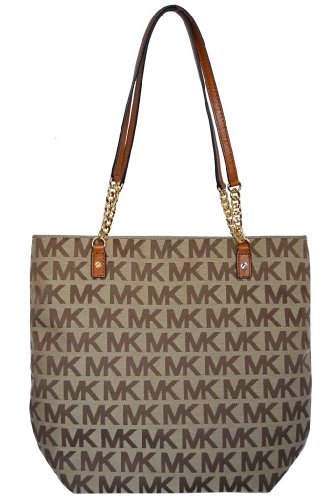 Michael Kors Luggage MK Signature Jet Set NS Chain Tote Shoulder Bag Handbag Purse