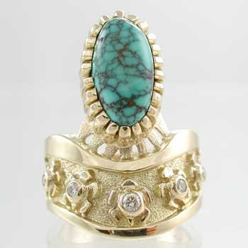 Southwestern Native American Handmade Lone Mountain Turquoise and Diamond Turtle Ring in 18kt. Gold by Navajo Artist Vernon Haskie, #9773