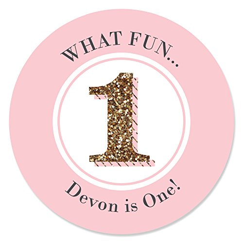 Custom Fun to be One - 1st Birthday Girl - Personalized Birthday Party Favor Circle Sticker Labels - Set of 24 (Personalized Party Stickers compare prices)