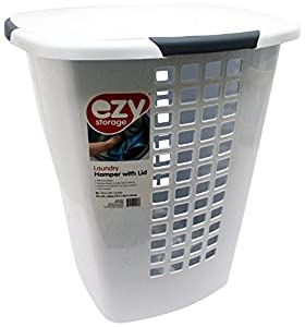 Ezy storage plastic laundry hamper with lid white - Plastic hamper with lid ...