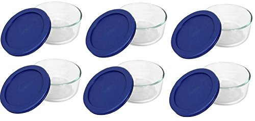 Pyrex Storage 2-Cup Round Dish, Clear with Blue Lid Case of 6 Containers (Glass Freezer Cup compare prices)