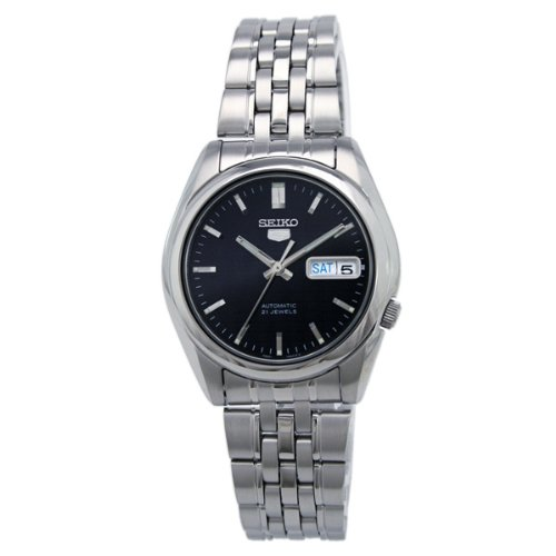 Seiko Men's 5 Automatic SNK357K Silver Stainless-Steel Automatic Watch with Blue Dial