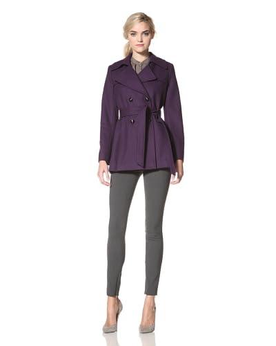 Via Spiga Women's Belted Wool Trench Coat  - Via Purple