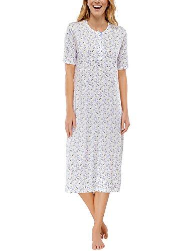 Schiesser Damen Nachthemd Sleepshirt 1/2 Arm, 110 cm, Gr. 46, Beige (naturweiss 412)