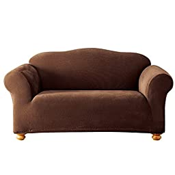 Sure Fit Stretch Pixel Corduroy 1-Piece - Loveseat Slipcover  - Chocolate (SF44544)