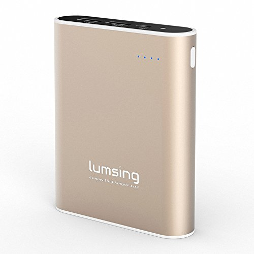Lumsing 13400mah Caricabatterie Portatile Batteria Esterna per iPhone, Smartphones, Android Phones Tablets, iPad, Handy, PSP, GoPro, GPS - Oro