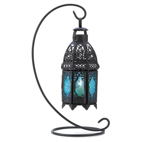 Sapphire Blue Tabletop Candle Holder Lantern (Tabletop Candles Hurricane Lamps compare prices)
