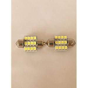 12連 高輝度LEDルームランプホワイト2ヶ T10×31mm
