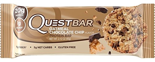 Quest Nutrition Protein Bar, Oatmeal Chocolate Chip, 12 bars - 2.1 oz each (Quest Bar Sugar Free compare prices)