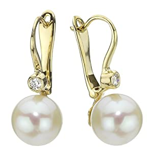 14k Yellow Gold Diamond 9-10mm Round White Freshwater Cultured High Luster Pearl Lever-back Earrings