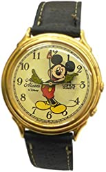 Lorus Moving Hands Disney Mickey Mouse Melody Alarm Watch with Black Leather Band