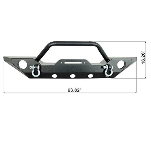 RestylingFactory Jeep Wrangler JK Black Stubby Front Bumper with JK D-Rings & Winch Plate