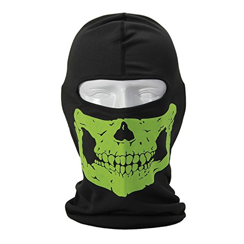 Green Full Face Motorcycle Bicycle Skull Mask Snowmobile Neck Balaclava Hat
