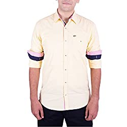 Enovate Men's Slim Fit Cotton Shirt (1002S_Yellow_Small)