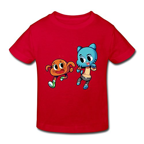 RenHe Toddler Geek The Amazing World Of Gumball T-shirts Size 5-6 Toddler Red