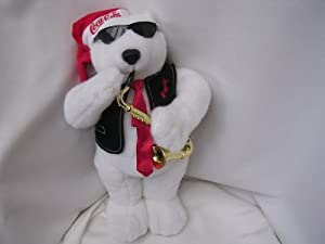 "Coca Cola Polar Bear Christmas Animated Musical Large 17"" Plush Toy ; Jazz Saxophone"