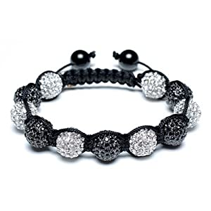 Bling Jewelry Shamballa Bracelet Unisex Black Swarovski Crystal Beads 12mm