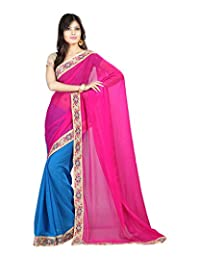 Sanskar Fashion Purple & Blue Chiffon Stone Work Saree