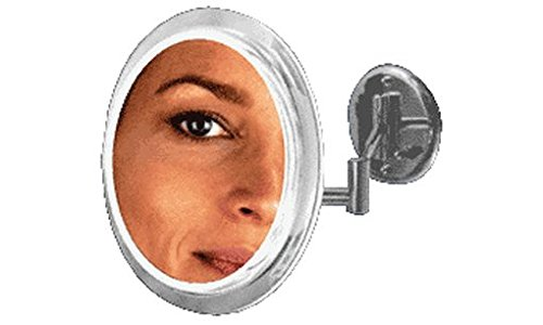 "C.R. Laurence Zsw45 Crl Satin Nickel 9"" Surround Light Dual Arm Mirror With 5X Magnification front-686327"