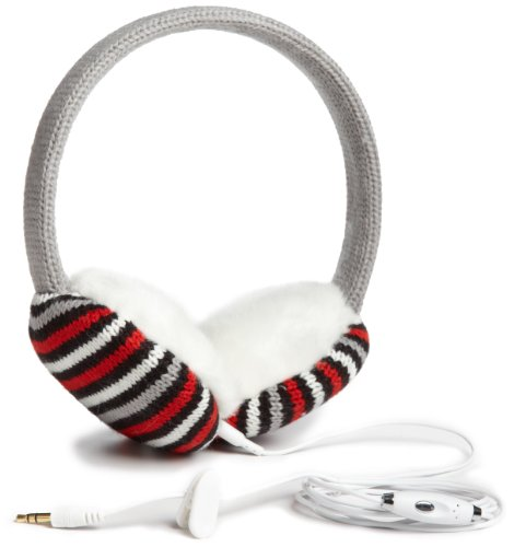 Lobers Women'S Mini Stripe Headphone Earmuffs, Red Multi, One Size