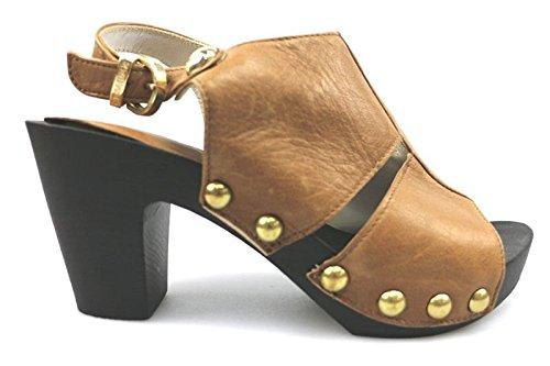 scarpe donna CESARE P. 36 sandali marrone cuoio pelle AS905