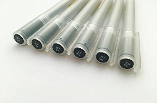 Muji - Juego de bolígrafos de tinta de gel (0,5 mm, 6 unidades), color negro