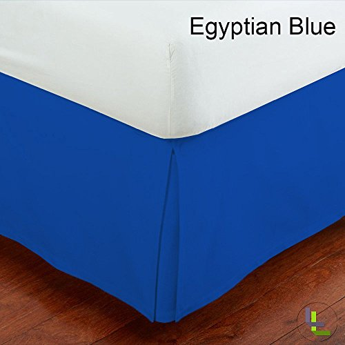 Linenaffairs Queen Xl 300Tc Brand New 1Pcs Box Pleated Bedskirt Solid (Drop Length: 17 Inches) Egyptian Blue Solid 100% Egyptian Cotton front-973220