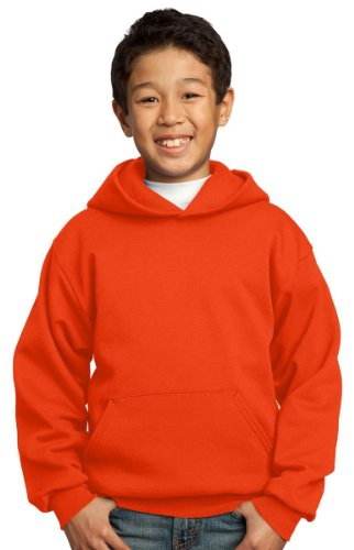 Port & Company Youth Front Pouch Pocket Pullover Hooded Sweatshirt,Large,Orange front-164353