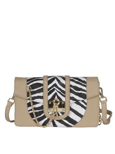 On Sale Vieta Giza Zebra Printed Faux Leather Satchel Clutch Crossbody Handbag Purse, Colors Available front-438283