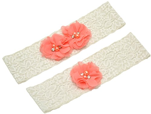 Wishprom Ivory Lace Wedding Garter Coral Chiffon Flower Vintage Toss Garter (M / 19-20 Inches)