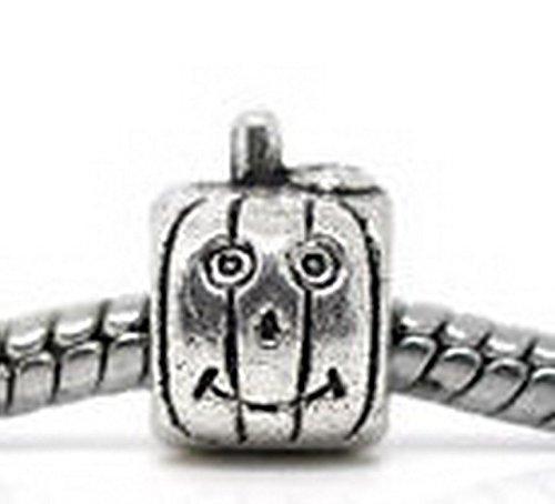 Beads Hut - Smiling Jack-O-Lantern Pumpkin Halloween Bead for Silver European Charm Bracelet