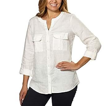 Ellen Tracy Ladies Linen Tunic Chalk Medium At Amazon
