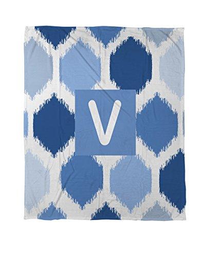 Thumbprintz Duvet Cover, Twin, Monogrammed Letter V, Blue Batik front-477705
